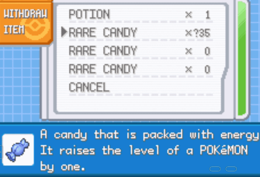 Pokemon FireRed Rare Candy Cheat