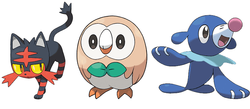 Sun & Moon Starter Pokemon