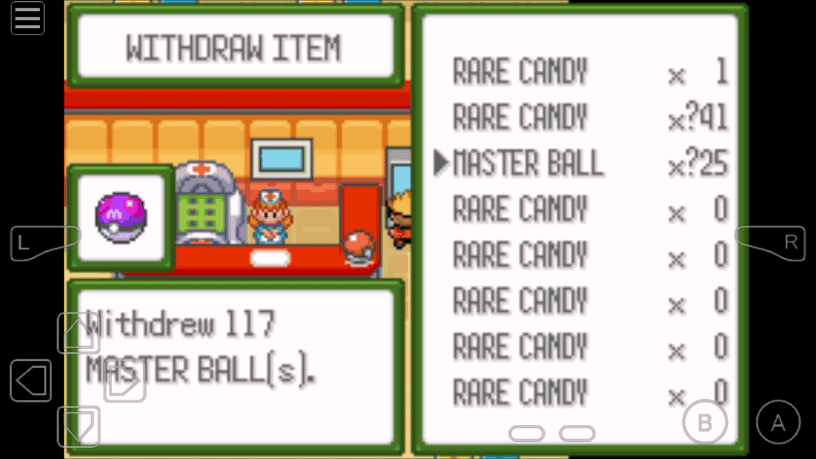 Pokemon Glazed unlimited master ball in pc