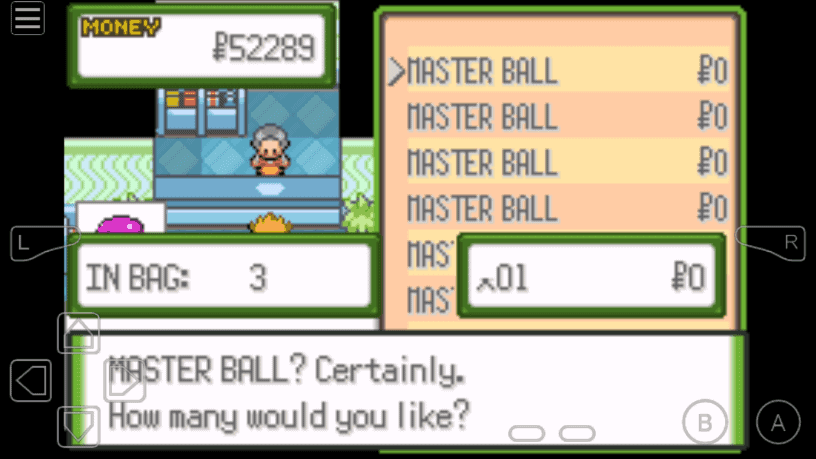pokemon glazed master ball cheat