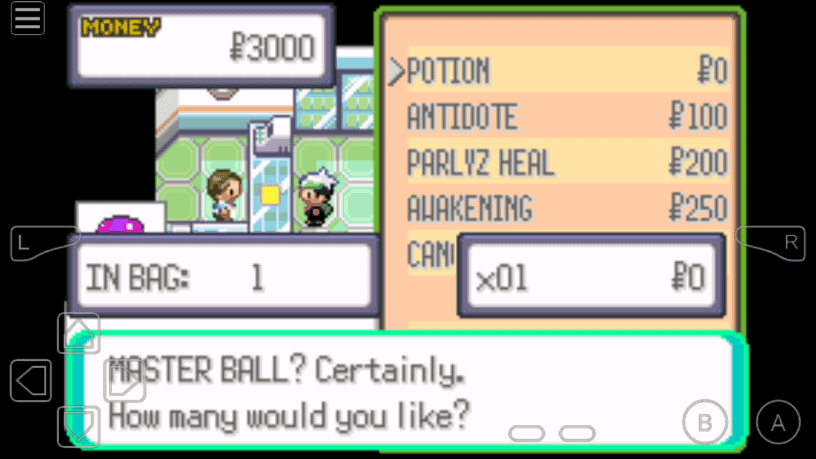 Emerald 0 Master ball in Mart cheat