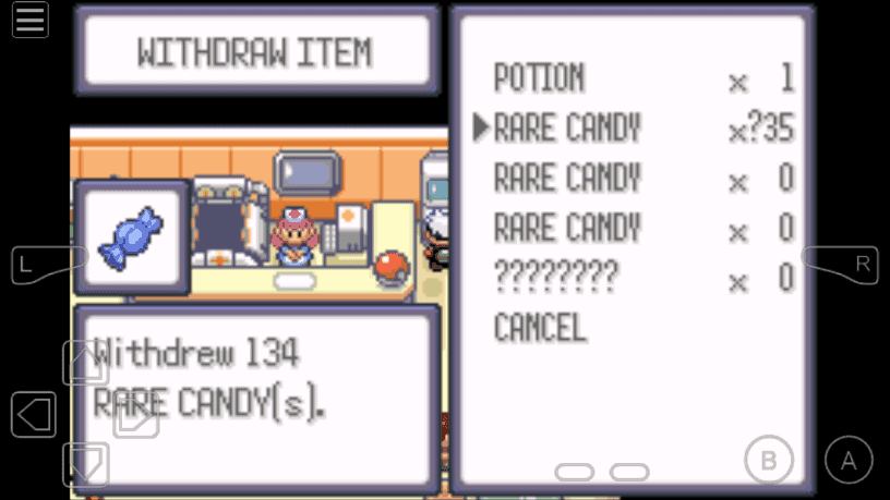 Unlimited Rare Candy in PC cheat