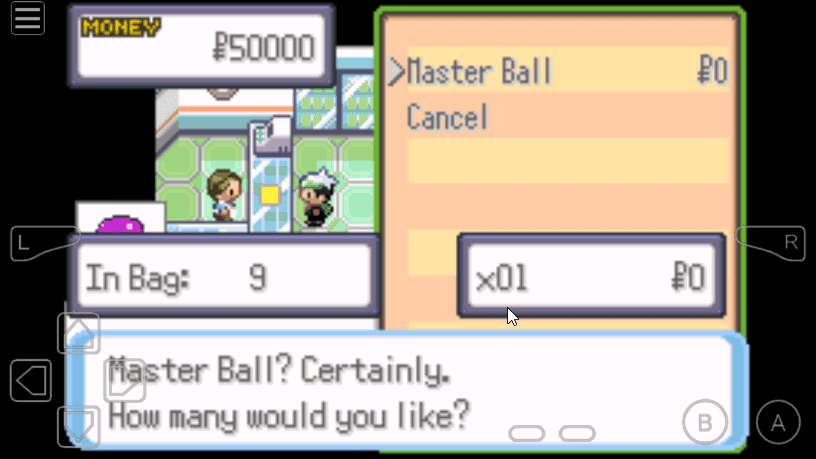 Master ball cheat for Pokemon Theta Emerald EX