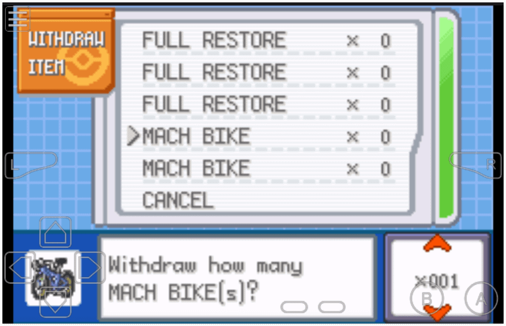 Pokemon Fire Red item cheats