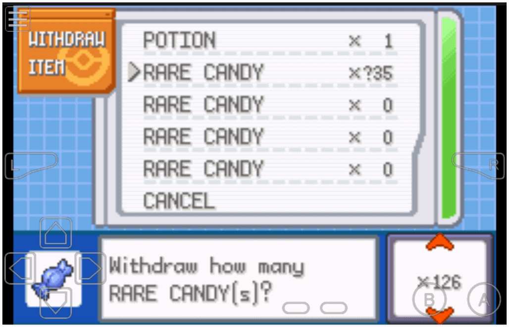 Pokemon Fire Red Rare Candy Cheat
