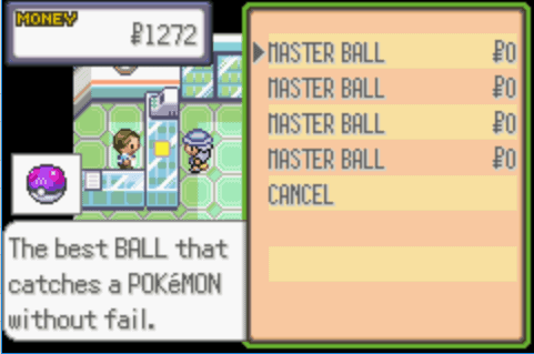 Pokemon CAWPS Buy Master Balls