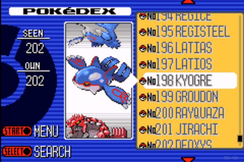 Pokemon Ruby all pokemon in Pokedex