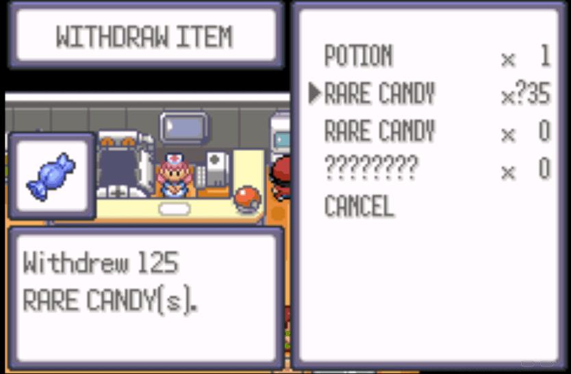 Pokemon victory fire cheats rare candy gba
