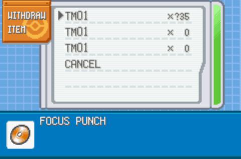 Pokemon Advanced Adventure TM/HM cheat