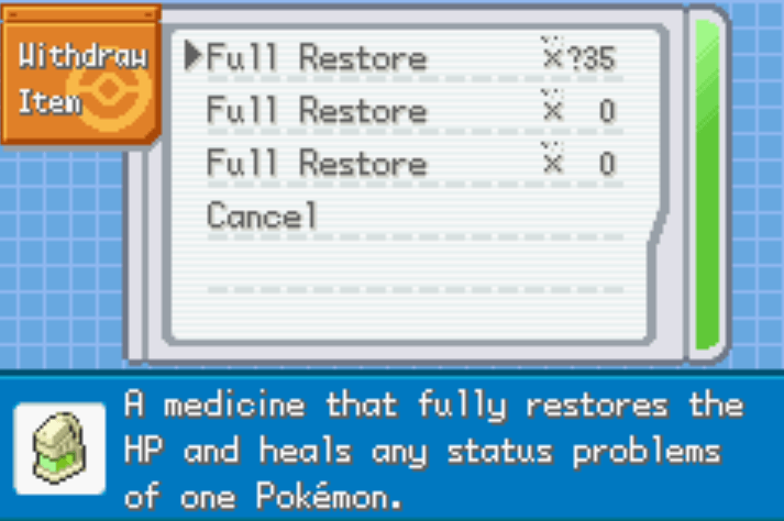 Pokémon Saiph Healing items cheat