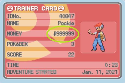 Pokemon Diamond Maximum Money cheat
