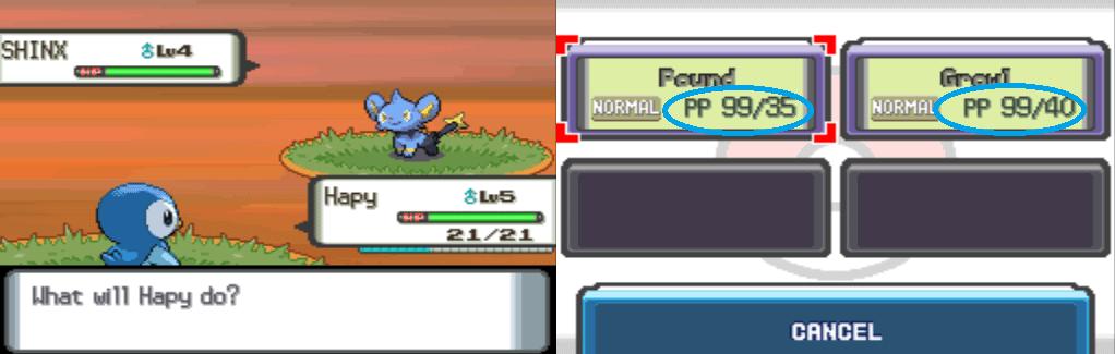 Pokemon Diamond Infinite PP cheat