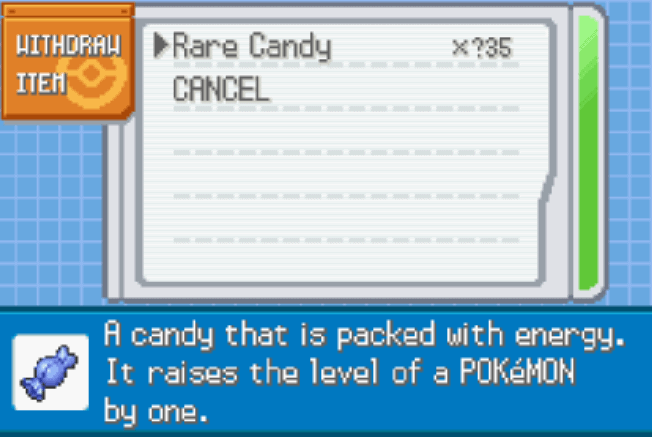 Unlimited Rare Candies Last FireRed Cheat