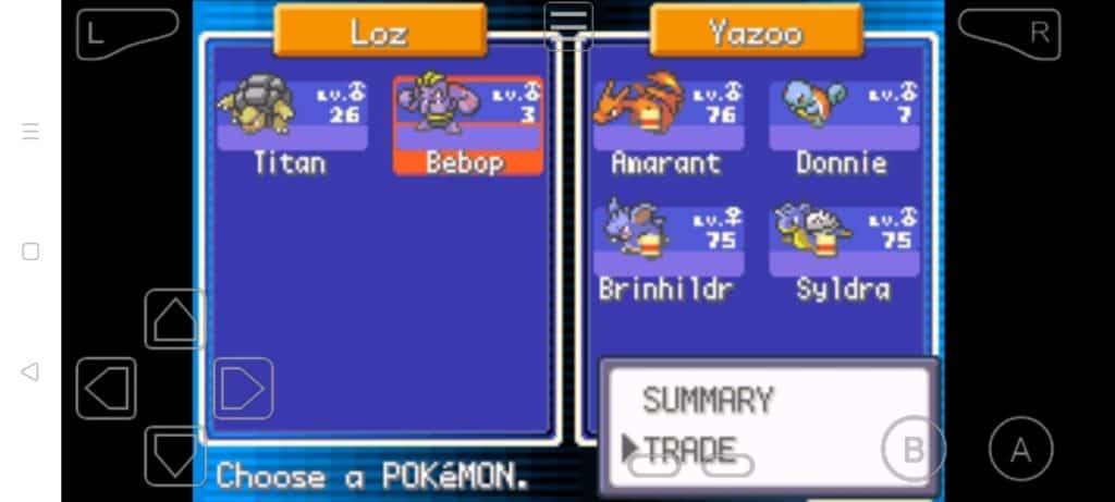 Step 17b how to trade Pokemon in MyBoy