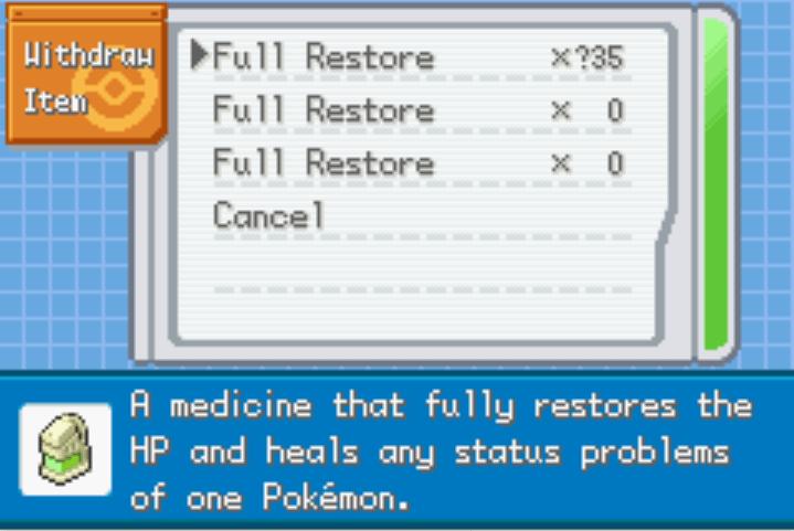 Unlimited Healing Items pokemon fire red kalos cheats