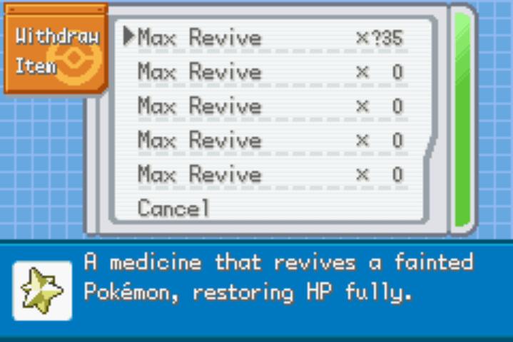 unli healing items Pokemon FireRed Nameless Project Cheat
