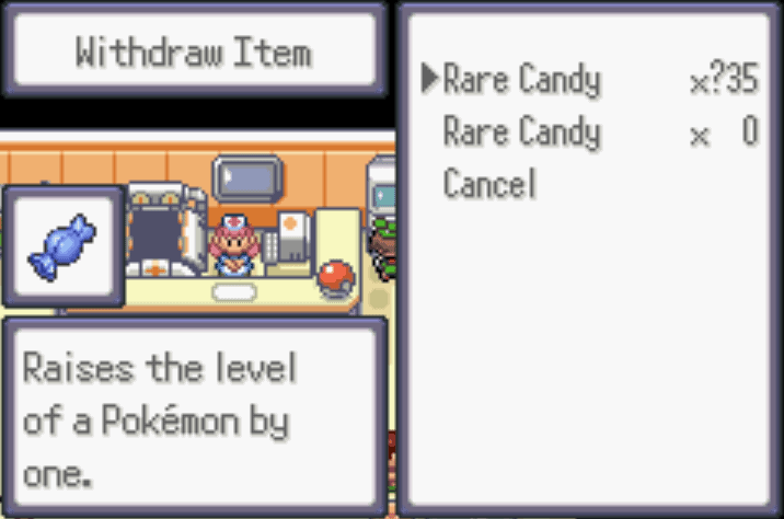 unlimited rare candies Pokemon Moon Emerald Cheat