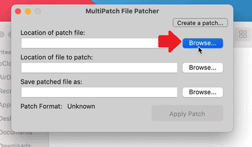 Step 2 how to patch ROM hacks on Mac using MultiPatch